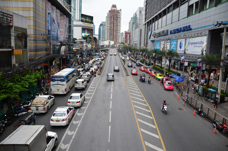 congested: BANGKOK, THAILAND - JUN 29, 2016: Traffic on a busy city centre road in Bangkok, Thailand. Each year an estimated 150,000 cars join the heavily congested streets of the Thai capital. Editorial