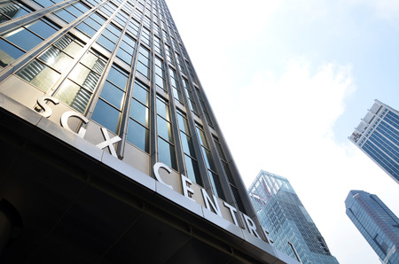 twin tower: SINGAPORE - 07 AUGUST, 2016: Singapore Exchange Limited is an investment holding company located in Singapore SGX Centre is a twin tower high-rise complex in the city of Singapore