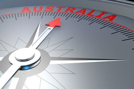 exile: Black compass with Australia word on it, 3D rendering Stock Photo