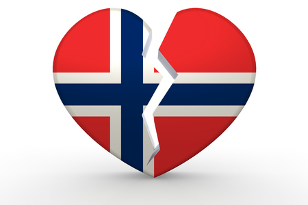 norway flag: Broken white heart shape with Norway flag, 3D rendering