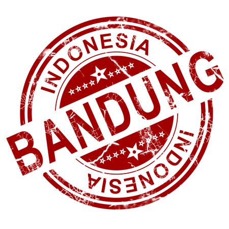 indo: Red Bandung stamp with white background, 3D rendering