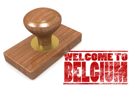Red rubber stamp with welcome to Belgium image with hi-res rendered artwork that could be used for any graphic design.