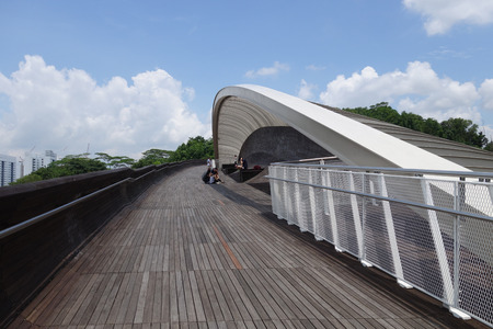 SINGAPORE- 09 SEP, 2016: Singapore Henderson wave bridge. the Henderson Waves bridge is the highest pedestrian bridge in Singapore