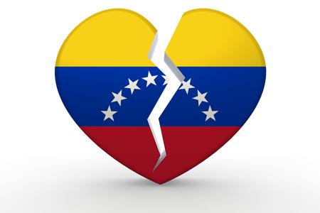 venezuela flag: Broken white heart shape with Venezuela flag, 3D rendering