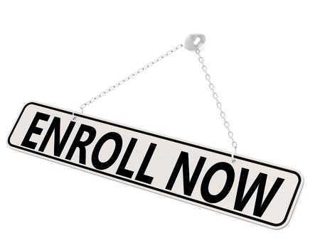 enroll: Enroll now banner isolated on white, 3D rendering Stock Photo