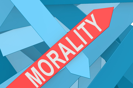 morality: Morality word on red arrow pointing upward, 3d rendering Stock Photo