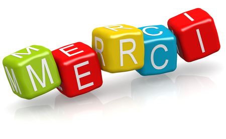 merci: Merci word on the color cube block, 3D rendering Stock Photo
