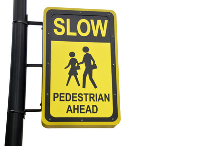 danger ahead: Yellow design sign for pedestrian ahead isolated Stock Photo