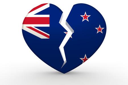 new zealand flag: Broken white heart shape with New Zealand flag, 3D rendering