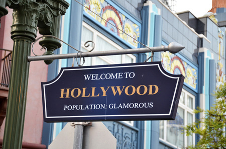 bl: Welcome to Hollywood road sign on street Editorial