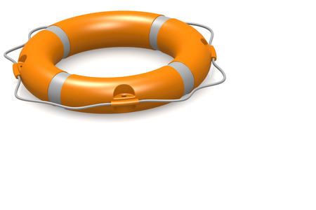 Life buoy in white and isolated background, 3D rendering