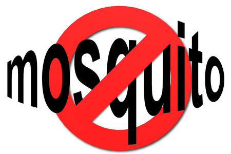 Stop mosquito sign in red with white background, 3D rendering