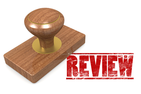 criticism: Review wooded seal stamp image with hi-res rendered artwork that could be used for any graphic design. Stock Photo