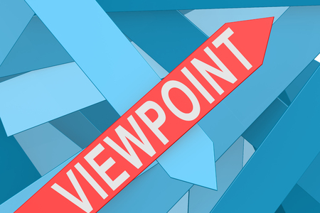 reconsideration: Viewpoint word on red arrow pointing upward, 3d rendering Stock Photo