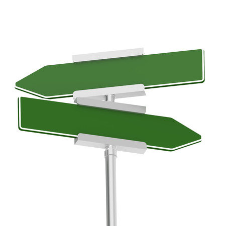 guidepost: Green signboard with metal pole, isolated with white background image with hi-res rendered artwork that could be used for any graphic design. Stock Photo