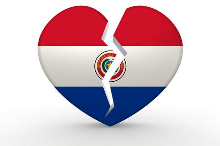 bandera de paraguay: forma de corazón blanco roto con la bandera de Paraguay, 3D