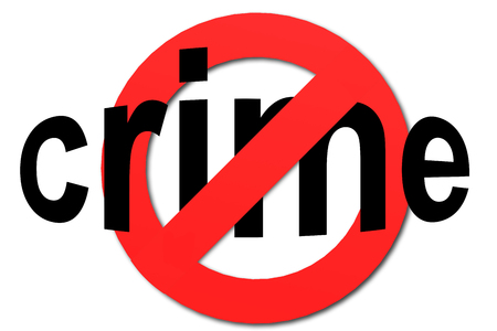 Stop crime sign in red with white background, 3D rendering