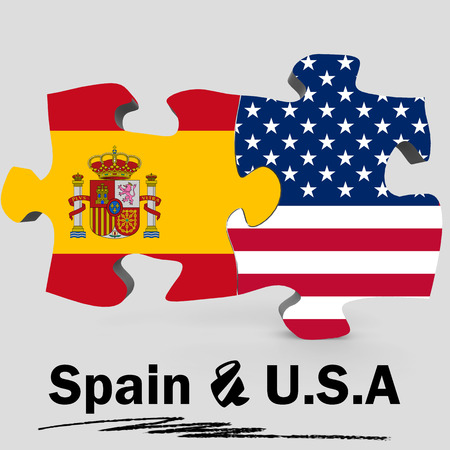 usa and spain flags in puzzle isolated on white background 3d