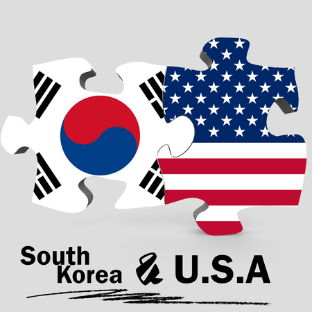 USA and South Korea Flags in puzzle isolated on white background, 3D rendering