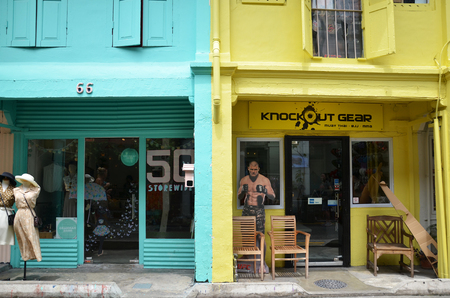 sg: SINGAPORE - OCT 16, 2016: Fashion shop which is located in Haji Lane. It is shopping street in the heart of Singapores Kampong Glam Arab Quarter famous for shops,cafes and restaurants. Editorial