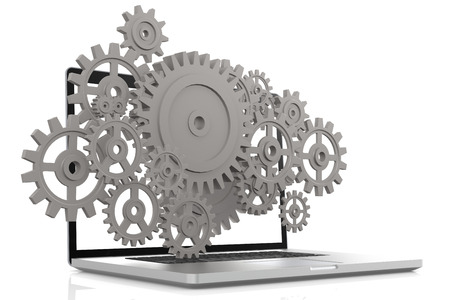 netbooks: Laptop with gears in white and isolated background, 3D rendering