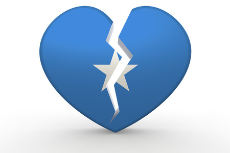 Broken white heart shape with Somalia flag, 3D rendering