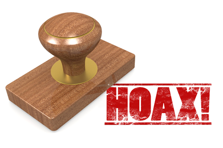 Rubber stamp with word Hoax, 3D rendering