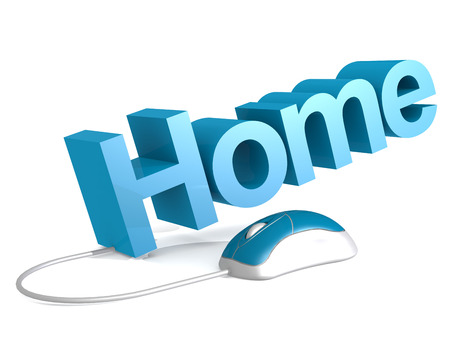 Home word with blue mouse, 3D rendering Stock Photo