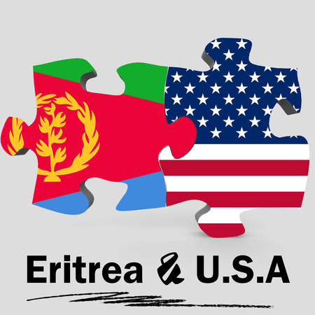 USA and Eritrea Flags in puzzle isolated on white background, 3D rendering Stock Photo