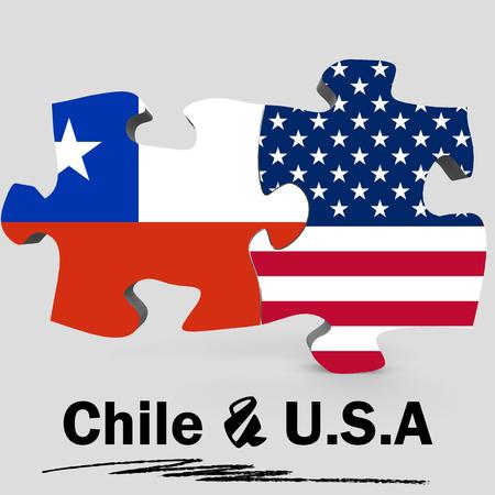 Banderas de los EEUU y de Chile en rompecabezas aisladas en el fondo blanco, 3D