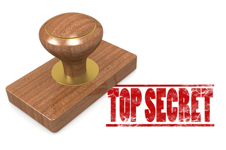 Red top secret wooded seal stamp image with hi-res rendered artwork that could be used for any graphic design.