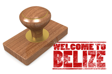 Red rubber stamp with welcome to Belize image with hi-res rendered artwork that could be used for any graphic design.