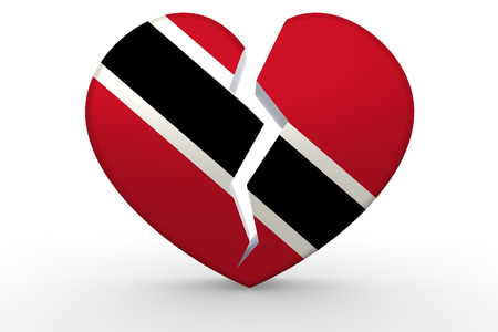 Broken white heart shape with Trinidad and Tobago flag, 3D rendering