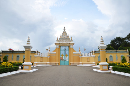 PHNOM PENH, CAMBODIA - OCT 22, 2016: The entrance of Royal palace inPhnom Penh, Cambodia. Phnom Penh is the capital and largest city of Cambodia. Located on the banks of the Mekong River.