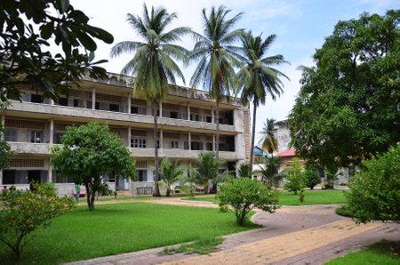 atrocity: PHNOM PENH, CAMBODIA - OCT 22, 2016:  Tuol Sleng Genocide Museum in Phnom Penh, Cambodia
