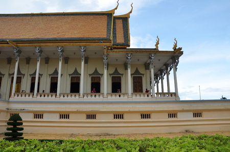 PHNOM PENH, CAMBODIA - OCT 22, 2016: The Royal Palace is a complex of buildings which serves as the royal residence of the king of Cambodia
