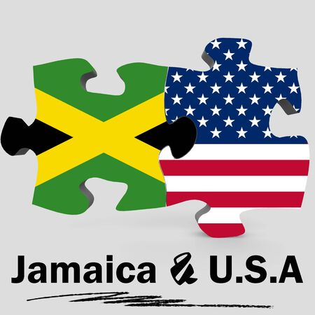 USA and Jamaica Flags in puzzle isolated on white background, 3D rendering Stock Photo