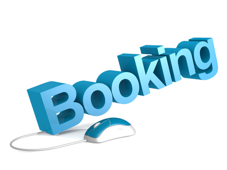 Booking word with blue mouse, 3D rendering Stock Photo