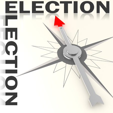 elect: Compass with election word isolated, 3d rendering