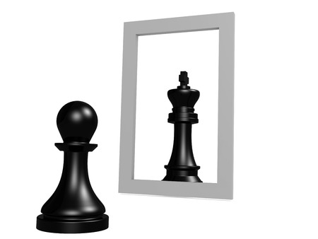 looking at mirror: Pawn looking in the mirror seeing queen, 3D rendering