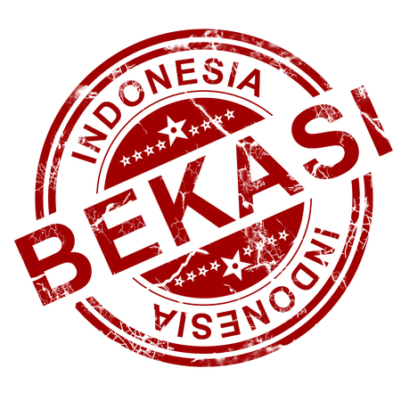 indo: Red Bekasi stamp with white background, 3D rendering