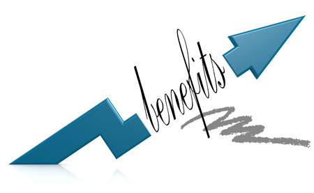 compensate: Blue arrow with benefits word, 3d rendering