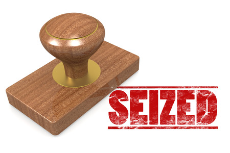 seized: Seized wooded seal stamp image with hi-res rendered artwork that could be used for any graphic design.