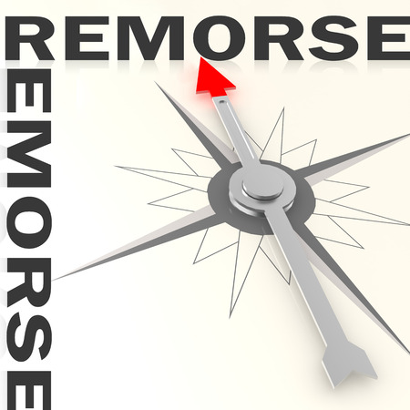 remorse: Compass with remorse word isolated, 3d rendering
