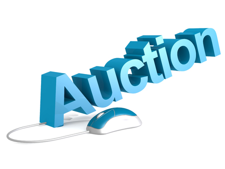 Auction word with blue mouse, 3D rendering