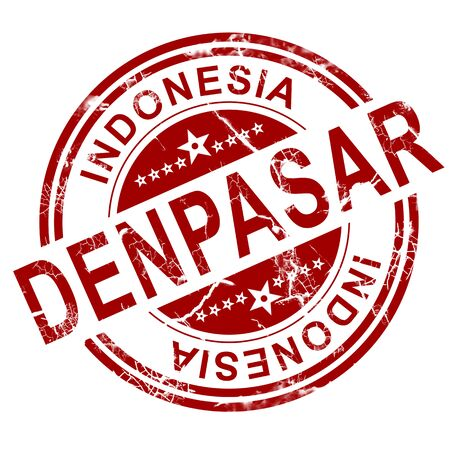 indo: Red Denpasar stamp with white background, 3D rendering