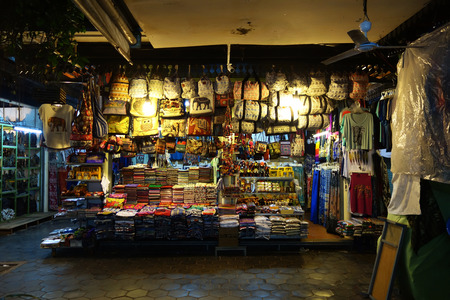 garment industry: SIEM REAP, CAMBODIA - OCT 21, 2016: Marketplace in Siem Reap. Garment industry of Cambodia accounts for 80 percent of its exports.
