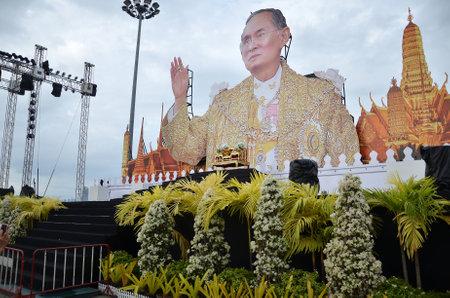 PATTAYA, THAILAND - 19 NOV, 2016: Memorial to the recently deceased King Bhumibol Adulyadej at Beach Road in Pattaya, Thailand Editorial