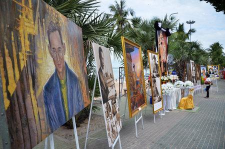 recently: PATTAYA, THAILAND - 19 NOV, 2016: Memorial to the recently deceased King Bhumibol Adulyadej at Beach Road in Pattaya, Thailand Editorial