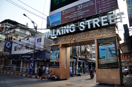 brothel: PATTAYA, THAILAND - 20 NOV, 2016: Unidentified people on a Walking Street in Pattaya. Walking Street road is a favorite tourist attraction. Night Place famous tourists visited Thailand.